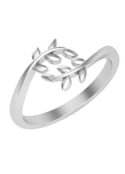 WHITE GOLD LEAVES RING