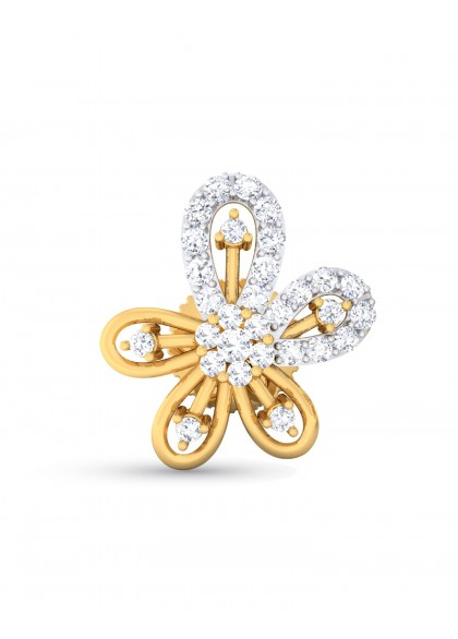 HALF DIAMOND FLOWER EARRING