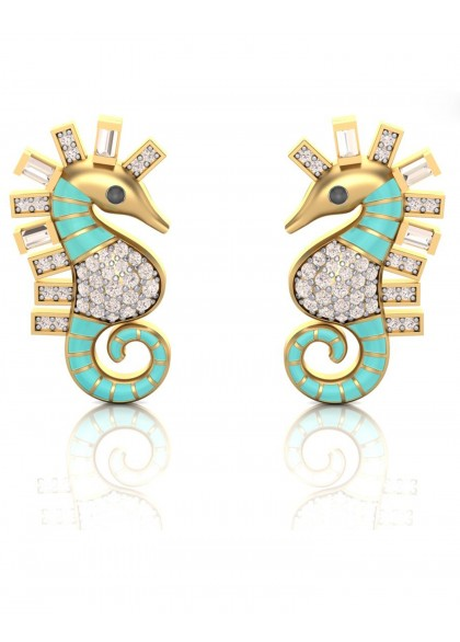 SEA BLUE HORSE EARRINGS