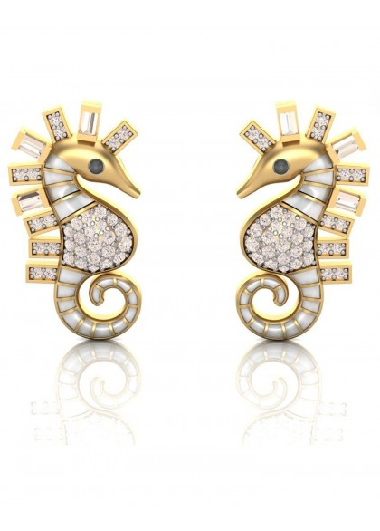 WHITE SEA HORSE EARRINGS