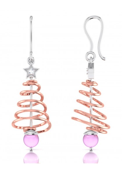 PINK XMAS TREE EARRINGS