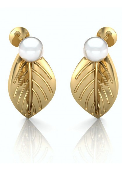 GOLD LEAF & PEARL EARRINGS