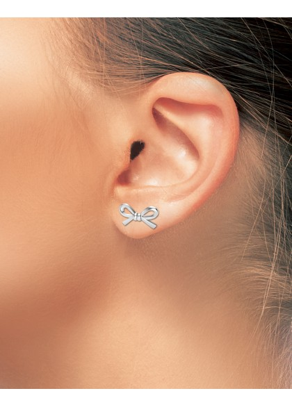 WHITE BOW EARRING