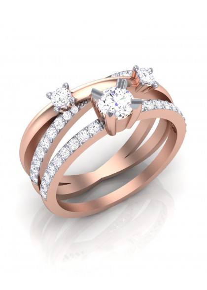 STACKED ROSE GOLD RING