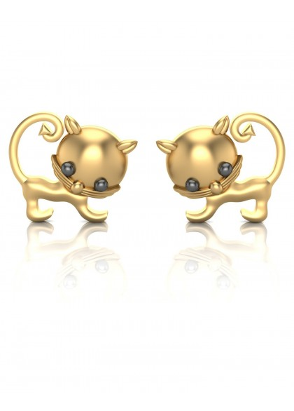 gold cat earrings the house of diamonds