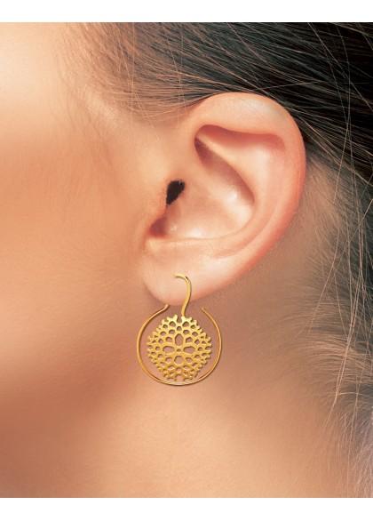 BEEHIVE GOLD EARRINGS